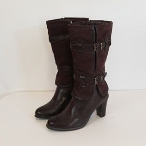 Nickels HIgh Heel brown Faux leather/suede boots